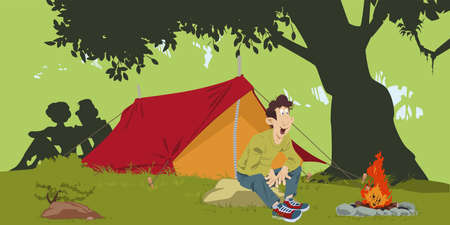 Hikers around campfire. Tourists on vacation. People in nature. Humans outdoor. Illustration concept for mobile website and internet development.