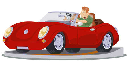 Man drives cabriolet. Male at driving lesson. Driver's license. Illustration concept for mobile website and internet development.