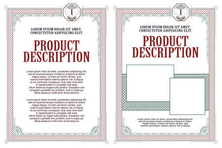 Template for design of diploma, certificate, advertisements, invitations or greeting cards.