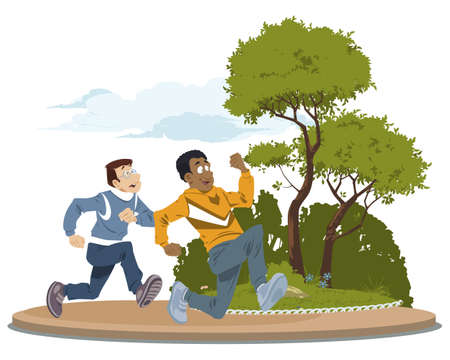 People run in park. Rest on nature. Illustration concept for mobile website and internet development.