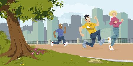 People run in park. Rest on nature. Illustration concept for mobile website and internet development. Vector Illustratie