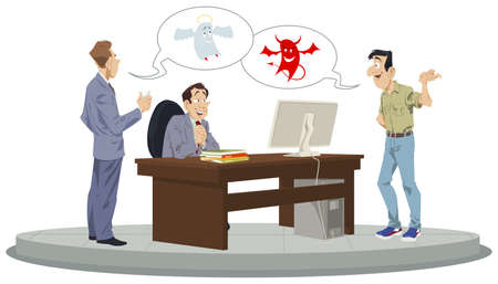 Businessman makes decision. Man solves dilemma. Choice between angel and demon. Illustration concept for mobile website and internet development.