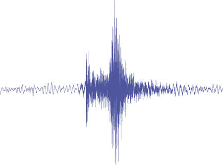 seismograph: A blue isolated earthquake graph  from a big earthquake without scale nor grid and white background