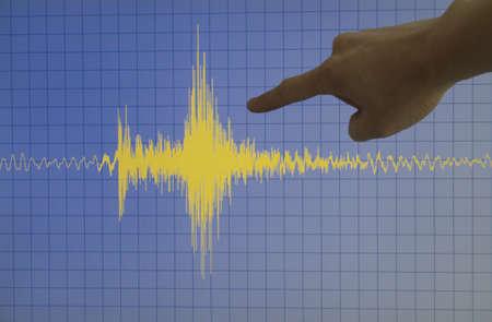 sismogr�fo: Mano que se�ala un terremoto de color amarillo con un fondo azul y una cuadr�cula