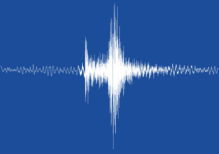 sismográfo: Un aislado gráfico terremoto blanca de un gran terremoto sin escala ni la rejilla y el fondo azul Foto de archivo