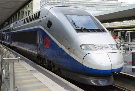 High speed train at Gare de Lyon in movement Stock Photo - 60601997
