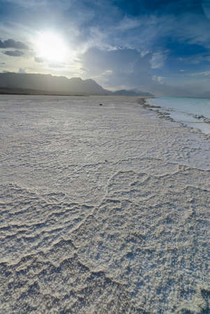 laque: The natural salty rivers of Assal Lake in Djibouti, Africa Stock Photo