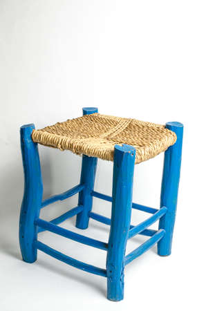 stool: Home made blue wooden stool Stock Photo