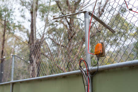 enclose: Electrical fence closeup with black and red wires in the forest Stock Photo