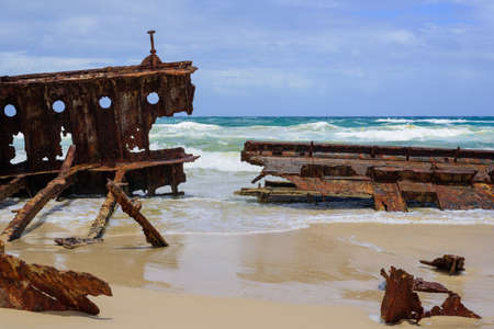ship wreck: Ship wreck on the beach in a suuny day