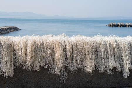 fishingnet: Fishing nets frying in the sun Stock Photo