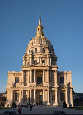 Paris, France, October 31, 2015: The cathedral of Saint Louis des Invalides on a sunny afternoon