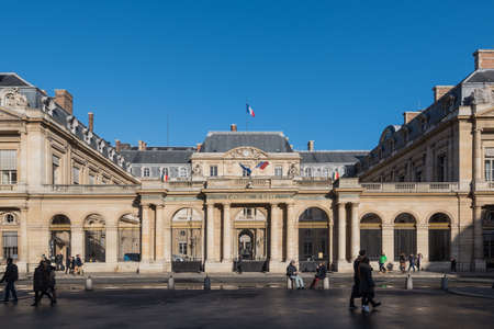 Paris, France December 31, 2015: The Palais-Royal, home of the Conseil dÉtat with a blue sky
