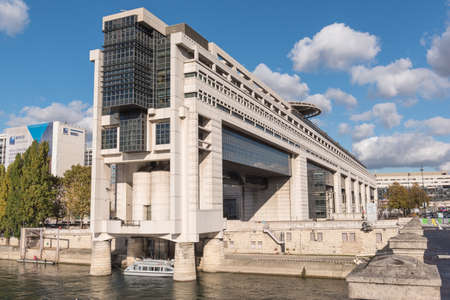 PARIS, FRANCE - 05 NOVEMBER 2016- Headquarters of the French Ministry of Finance and Economy in Bercy neighborhood extending over the Seine river in Paris