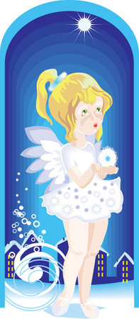 A small girl in angel's dress is standing at the door waiting to come in. She holds a  snowflake in her hands. It is evening and many windows on the street are shining. It is cold and windy outside. Stock Vector - 14861862