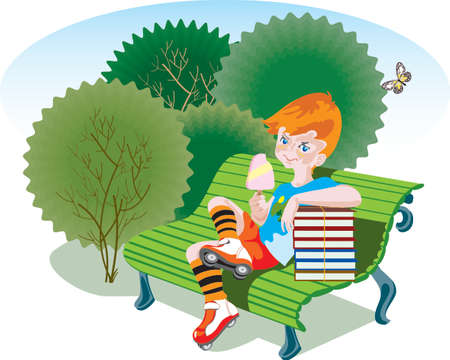 A boy sits on a bench in a park. Summer vacation has just begun. The boy wears striped socks and roller skates and eats an ice-cream. He leans on a heap of school books. There are green bushes and butterflies on the background. Vector