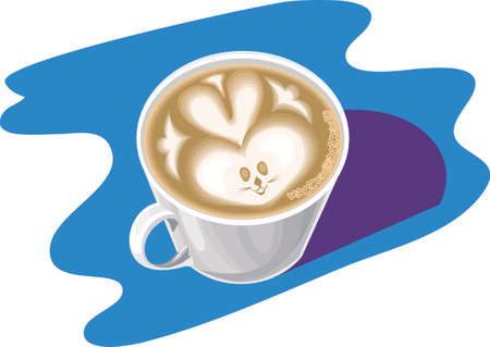 delftware: A cup of coffee decorated with cream. Illustration