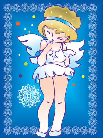 A small shy girl in angels dress touches her chin with a finger. There are snowflakes and  confetti on her background.