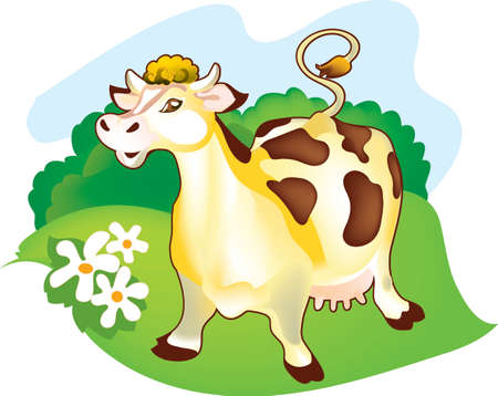 A milch cow is standing on a pasture. It is well-fed and groomed. Vector
