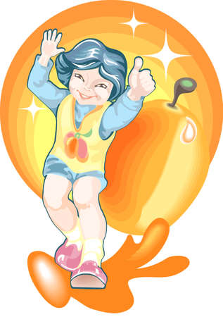 This is a boy in orange dress on a background of an apricot Illustration