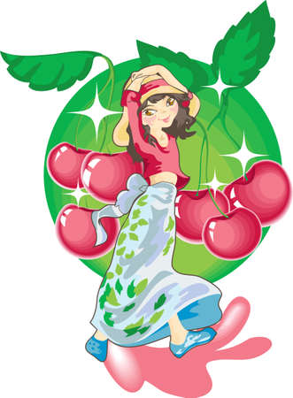 This is the girl in a big hat on a background of a red cherry Illustration