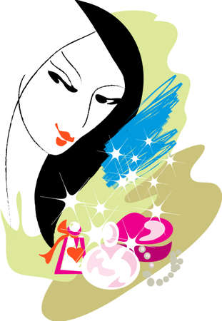 This is the image of the face of the girl and bottles of perfume Illustration