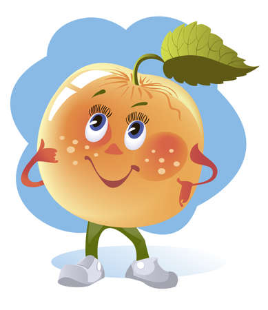 Cartoon image of a cheerful yellow apple Vector