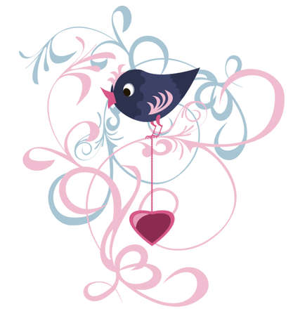 Decorative items for Valentine design with a bird and the symbolic heart  Vector