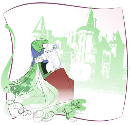 Actress in a historical costume performs classical melody for the harp in the background of a medieval castle Illustration