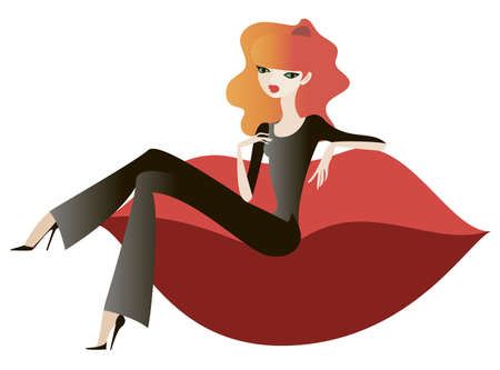 The stylish girl sitting on a red couch