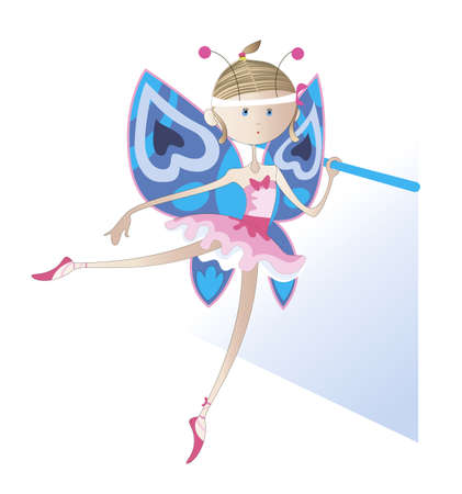 Girl - a dancer dressed as a butterfly trains near the ballet barre Vector