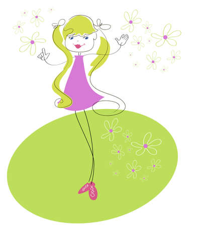Little funny girl is on the green meadow of daisies Vector