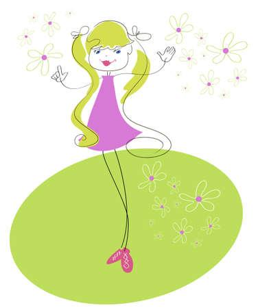 Petite fille drôle, c'est sur la verte prairie des marguerites Vecteurs