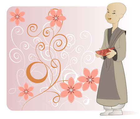 A young Buddhist monk with a cup in his hands on the background of flowers Vector