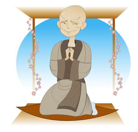 buddhist meditation: boy - a Buddhist monk praying in temple