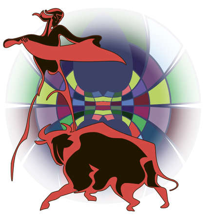 Graphic contour image of a bullfighter and the bull on the bright circus arena Vector