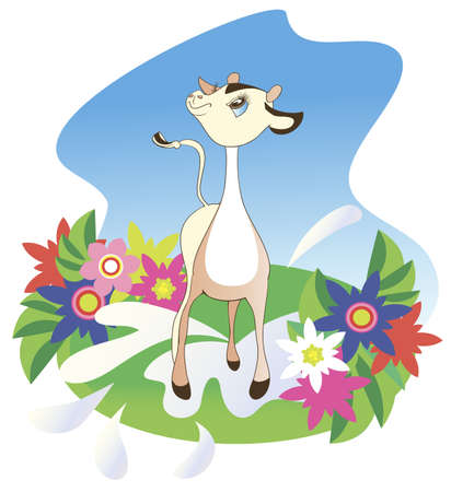 Illustration depicting a small calf, which is on a summer meadow of flowers Vector