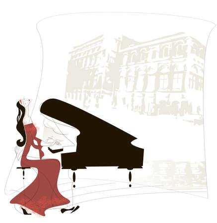 Mujer magistralmente toca el piano en el fondo la silueta del edificio de la Ópera de Viena Ilustración de vector