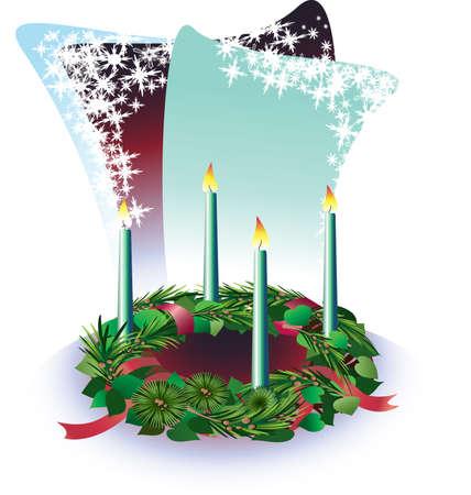 Die vier Kerzen auf dem Advent Wencke Vektorgrafik