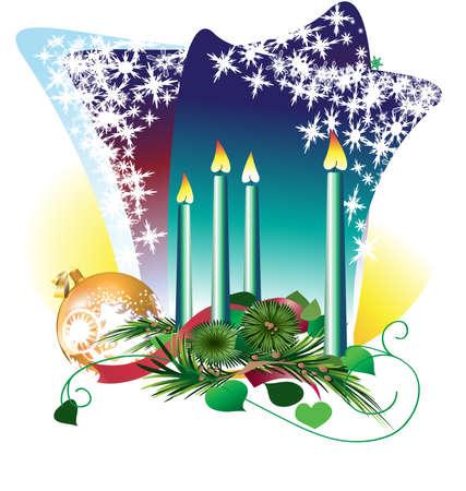 adventskranz: Die vier Kerzen auf dem Advent Wencke und einer Weihnachtskugel