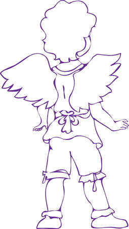A small boy in angel's dress stands turned with his back to us. Vector