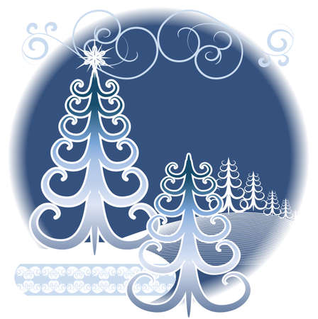 Stylized winter forest on a decorative background Stock Vector - 14862746