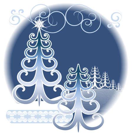 Stylized winter forest on a decorative background Illustration
