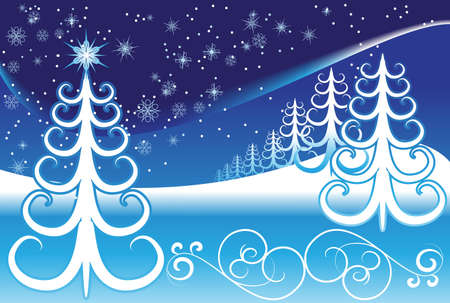 rural scene: Stylized winter forest on a decorative background Illustration