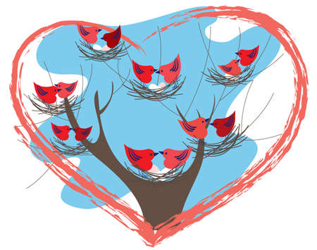 Couples Valentine birds sitting in their nests Vector