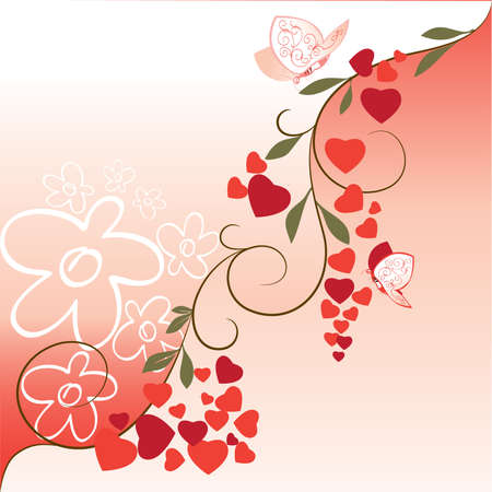 A decorative element with flowering branches and butterflies  for Valentines Day