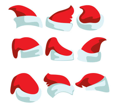 Nine drawings of red Christmas hats for Santa