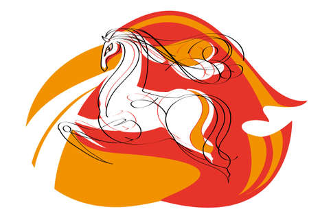 Sketch of the magnificent mustang for decorative red  background Vector