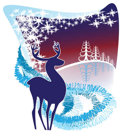A silhouette of a reindeer in a decorative winter background Stock Vector - 14862759