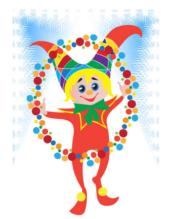 Cheerful Clown with colorful balls on the Christmas carnival Vector